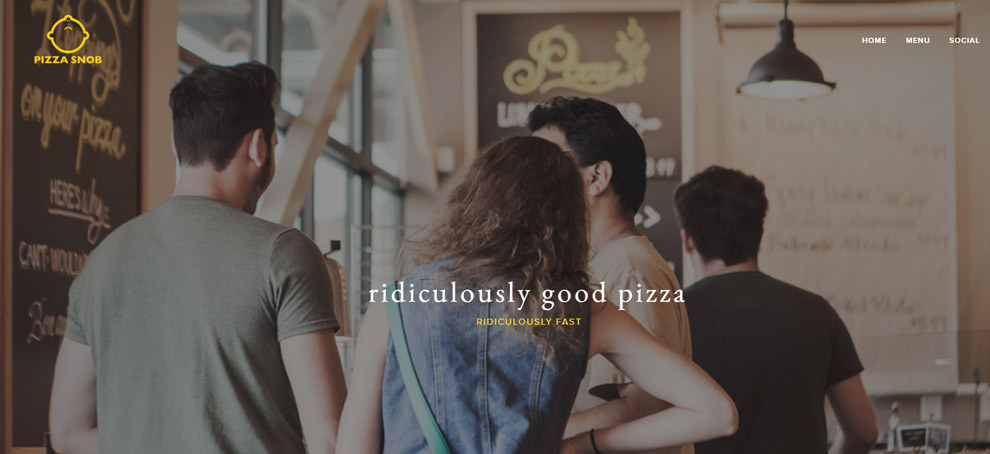Screenshot Pizza Snob Website