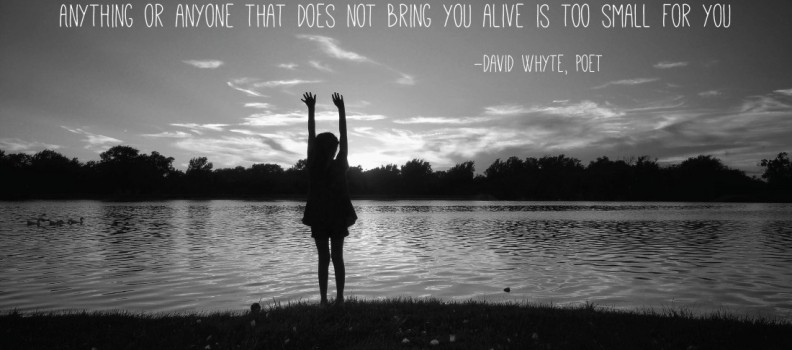 Anything or anyone that does not bring you alive is too small for you