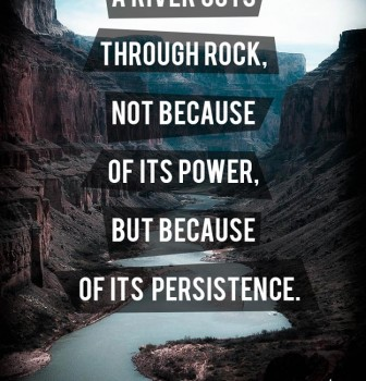 A river cuts through rock – Not because of its power but because of its persistence
